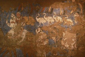 A fresco recovered from ancient Marakanda, displayed in a Samarkand museum. Photo / Jim Eagles