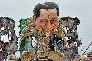 The float of Silvio Berlusconi features biting satire. Photo / Supplied