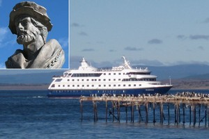 The Via Australis arriving at Punta Arenas. A bust of Magellan (inset) sits alongside the strait that bears his name. Photos / Jill Worrall
