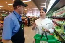 Masterchef contestant Michelle Berry with Gordon Whitworth, Produce Manager at Countown Grey Lynn. Photo / Supplied