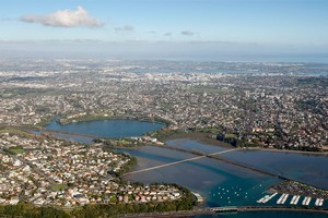 An aerial view of Hobson Bay and the Orakei Basin. Photo / Richard Robinson