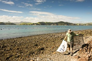 Volunteers on the big Coromandel cleanup had fun as well as helping to protect the environment. Photo / Maria Atkins