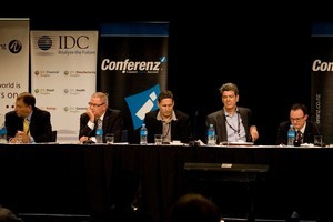 Allan Freeth (TelstraClear, left), Eric Hertz (2degrees), Rick Ellis (TVNZ), Russell Stanners (Vodafone), Paul Reynolds (Telecom), Paul Muckleston (Microsoft) and Geoff Hunt (Kordia) during the discussion yesterday. Photo / Dean Purcell