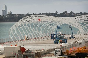 Work continues on the $9.8 million Cloud at the Rugby World Cup 'Party Central' in Auckland . Photo / Greg Bowker