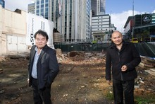 Brothers John (left) and Michael Chow are hoping to bring their successful sex industry business to the site of the old Palace Hotel in Auckland. Photo / Paul Estcourt