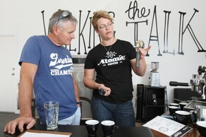 Emma from Atomic Coffee Roasters teaches the fine art of the perfect cup from the coffee school base in Kingsland. Photo / Greg Bowker