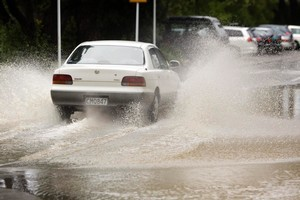 Flooding in the streets of Wellington is not new, as this picture from 2007 shows. Photo / NZ Herald