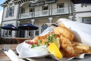 Fish and chips at Northcote Tavern. Photo / Greg Bowker