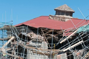 The remains of St Paul's Trinity Pacific Church on Cashel Street, following the magnitude 6.3 earthquake which hit Christchurch on February 22. Photo / NZPA