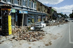 A deserted Christchurch street after the 6.3-magnitude earthquake that hit the city on 22 February. Photo / Dean Purcell