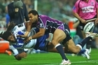 Justin O'Neill of the Storm tackles Jamal Idris of the Bulldogs. Photo / Getty Images