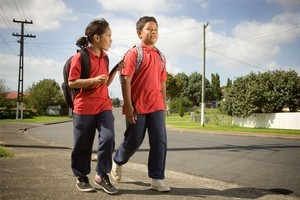 Unaloto Matekuolava and Tone Lopati collect research data as they walk — or wiggle. Photo / The Aucklander