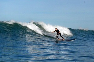 Great surf at Orewa Beach, thanks to Cyclone Bune. Photo / Supplied