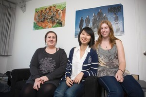 Flatmates, Della Halsall, Melody Guo and Kelly Remnamp in their Auckland City Apartment. Photo / Paul Estcourt