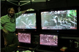 Sir Peter Jackson and the 3-D video set up filiming Gollum's cave for