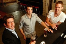 (From left) George Eason, James Arnott and Andrew Roborgh toast their latest venue, Fort Street Union, in Auckland. Photo / Brett Phibbs  