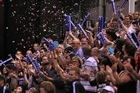 The crowd cheer on the Breakers after they booked a spot in the NBL finals. Photo / Getty Images