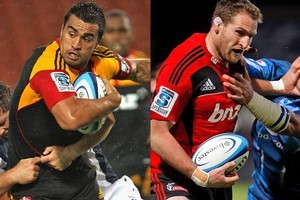 Liam Messam and Kieran Read will clash in tonight's Super 15 fixture between the Chiefs and Crusaders. Photo / Getty Images