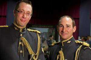 The two Kiwi members of the Royal Air Force Central Band, Corporal Hamish Dean and Senior Aircraftman Michael Mcgowan, who will play at Westminster Abbey during the royal wedding on April 29. Photo / SAC Andy Holmes