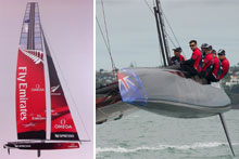 Emirates Team New Zealand take their AC45 for its first sail on the Waitamata harbour in March and left, the new boat. Photos / Chris Cameron, Cameron McMillan