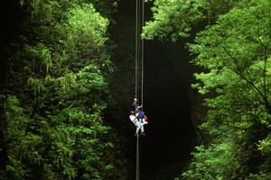 Dangling over the void takes some getting used to but the views from the bottom are well worth the effort. Photo / Waitomo Adventures