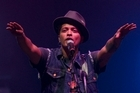 Singer and songwriter Bruno Mars' pub-band background was on show last night as he performed at the Vector Arena. Photo / NZPA