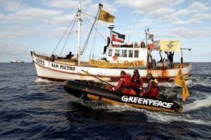 A Greenpeace inflatable and flotilla vessel San Pietro shadow the seismic survey vessel Orient Explorer off the East Cape. Photo / Greenpeace