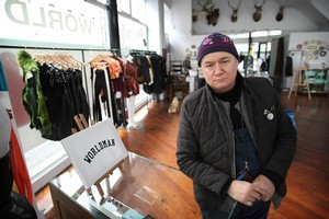 Francis Hooper from World in his Christchurch store which has been closed since the quake. Photo / Greg Bowker