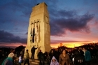 The Anzac Day dawn service at the cenotaph at the Auckland War Memorial Museum. Photo / Greg Bowker