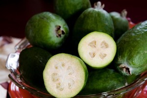 Feijoas smell like pineapples and will scent a room. Photo / Babiche Martens
