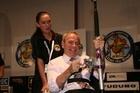 Mayor Len Brown 'fights a tuna' with Leanne Tasman-Jones. Photo / Supplied