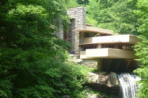 The owners of Falling Water chose the site for a view of the waterfall but the house was built over it. Photo / Roger Hall