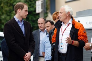 Christchurch Mayor Bob Parker (R) shows Prince William (L) around Christchurch's earthquake damaged CBD. Photo / Sarah Ivey