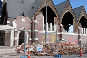The Knox Church was badly damaged in February's earthquake. Photo / Paul Harper