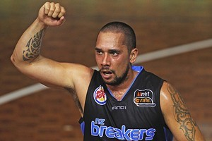 Paul Henare of the Breakers celebrates the victory over the Wildcats. Photo / Getty Images