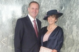 John Key thinks his wife, Bronagh, looks great in hats. This one is a Dolly Varden, to go with her Trelise Cooper navy and pink dress and silk coat. Photo / Alanah Eriksen