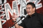Hone Harawira speaks to supporters. Photo / Chris Loufte