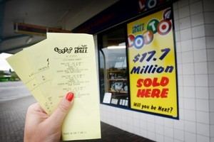 The Take Note book store in Dinsdale, Hamilton, which sold the $17.7m Lotto ticket. Photo / Christine Cornege.
