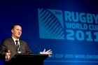 John Key at the 2011 Rugby World Cup ticket sales announcement. Photo / Richard Robinson