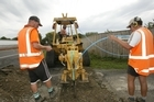 Contractors laying fibre optic cabling in Havelock North. Photo / Hawkes Bay Today