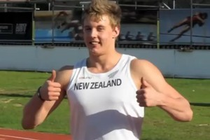 North Shore 16-year-old Jacko Gill celebrates breaking age, weight and distance records with his 20.01m shot put throw. Photo / Supplied