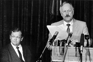 Under the David Lange government, Roger Douglas, right, introduced sell-offs. File Photo / NZ Herald