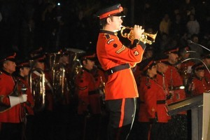 The Last Post and Reveille are sounded at the Anzac Dawn Service at the Cenotaph in Wellington. Photo / NZPA