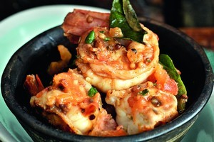 Prawns with garlic and chillies. Photo / Supplied