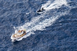 The San Pietro's skipper was arrested during oil survey protests yetserday. Photo / Supplied