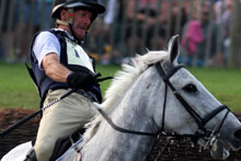 Mark Todd and horse NZB Land Vision at Badminton overnight. Photo / AP