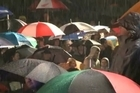 Thousands of people braved the rain to pay their respects at the Auckland Cenotaph on ANZAC Day.