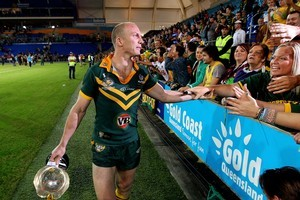 Darren Lockyer holds the Bill Kelly Trophy after beating the Kiwis on Saturday. Photo / Getty Images