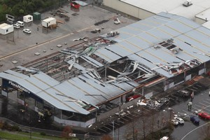 Huge sections of the PlaceMakers roof were torn off and scattered by the tornado which reached speeds of 200km/h. Photo / Paul Estcourt