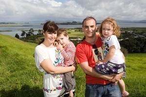 Rafael and Karen Caso with their children Ben and Naomi at one of their favourite places, Mangere Mountain in the Domain. Photo / Paul Estcourt